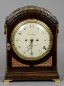 An 18th/19th century mahogany cased eight day triple pad top bell striking mantel clock The 8 inch