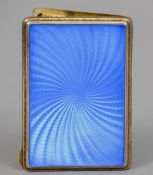 A Continental Sterling silver and blue guilloche enamelled cigarette case The interior gilded.  8.