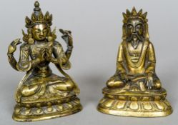 Two small Chinese bronze models of Deities, possibly 17th century Each seated in the lotus position.
