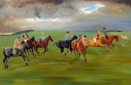 M.E. CHADBURY (20th century) British Polo Oil on canvas Signed and dated 1975 90 x 59.