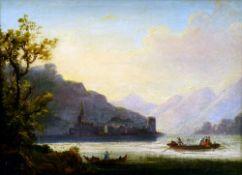 ENGLISH SCHOOL (18th/19th century)  Italianate Lake Scene Oil on canvas 38.5 x 28.