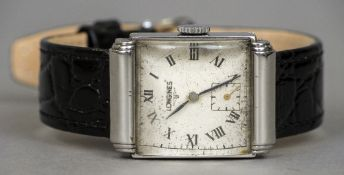 A vintage Longines gentleman's wristwatch Of domed rectangular form.  2.75 cm wide.