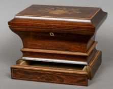 A 19th century French marquetry inlaid rosewood sewing box The domed hinged rectangular top inlaid
