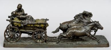After C. GURADCO (19th/20th century) Figures in a Hay Cart Bronze Signed  46.