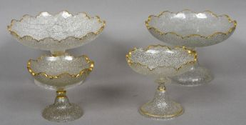 Two pairs of 19th century crackle moulded glass tazza Each with shaped gilt decorated rim.  25.
