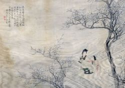 CHINESE SCHOOL (19th century) Ladies on a Balcony Watercolour on silk with calligraphic text and