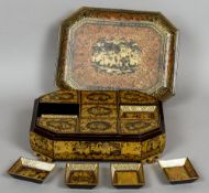 A 19th/20th century Chinese Export lacquered games box Of rectangular form,