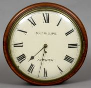 A 19th century mahogany cased wall clock The white painted 12 inch dial signed S.M.