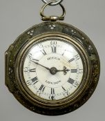 A Georgian silver pair cased verge pocket watch The white enamel dial with Arabic and Roman