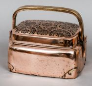 An 18th/19th century Chinese bronze hand warmer With loop handle and pierced removable lid.