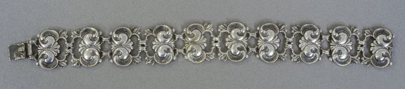 A WMF 835 silver bracelet Of pierced floral form.  18.5 cm long.