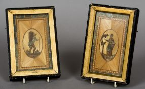 A pair of 19th century framed straw work panels Each depicting a figure at harvest.