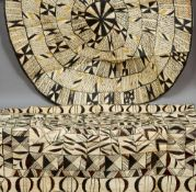 A Zulu animal hide ground sheet and blanket Each decorated with typical geometric motifs.