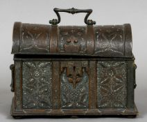 A 19th century bronze dome topped casket With all over floral and scrolling decoration with enamel