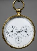 An 18 ct gold multi-dial pocket watch The main dial encompassing three subsidiary dials.
