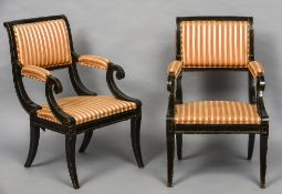 A pair of 19th century ebonised upholstered library open armchairs Each scrolling top rail above
