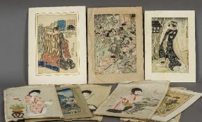 A collection of 19th century Japanese watercolours and woodblock prints Depicting various Geishas