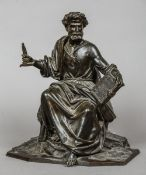 A 19th century patinated bronze model of St. Peter Modelled seated.  28.5 cm high.