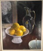 ENGLISH SCHOOL (20th century) Still Life With Lemons Oil on canvas Signed 36.