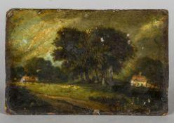 Circle of JOHN CONSTABLE RA (1776-1837) British Field Sketch of a Rural Scene Oil on artist's