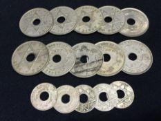 Ten George V British West Africa pennies Together with five George V British West Africa 1/10th