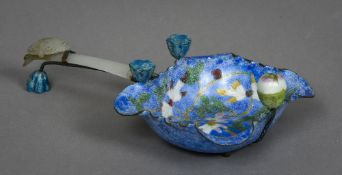 A Chinese carved jade handled enamel brush washer The main body decorated with floral scroll work.
