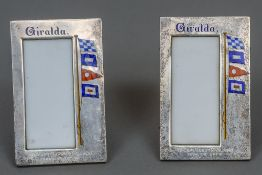 A pair of Victorian silver and enamel decorated porcelain set menu stands, hallmarked London 1897,