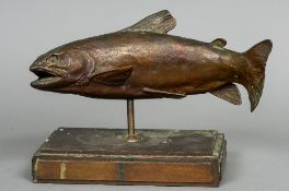 A 20th century bronze model of a trout Naturalistically modelled,