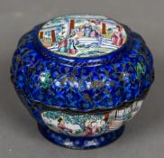 An unmarked silver inlaid Canton enamelled box Of lobed circular form,