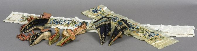 Four pairs of 19th century Chinese embroidered silk shoes Together with two Chinese embroidered