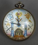 A Swiss ball clock Of typical form, the dial with Arabic numerals and Masonic motifs. 6.5 cm wide.