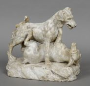 An 18th/ 19th century Grand Tour carved animalier group Formed as two fighting dogs. 33 cm wide.