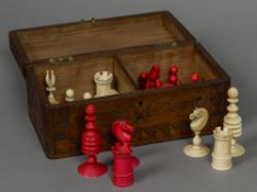 A 19th century stained and carved ivory Washington/Barley Corn pattern chess set The kings 9 cm
