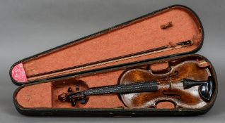 A 19th/20th century violin Bearing label for Hugh W.