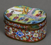A Chinese Canton enamel snuff box The cover decorated with figures in a garden,