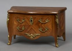 A Continental jewellery box Formed as a miniature commode,