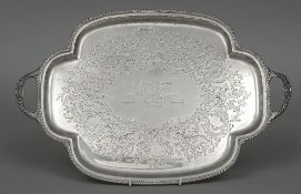 An Edwardian silver twin handled tray, hallmarked Sheffield 1903,