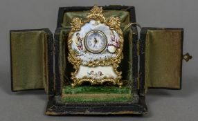 A miniature Swiss desk clock Decorated with enamelled figural vignettes,