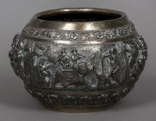 An Indian unmarked silver bowl Decorated in the round with hunting and battle scenes;
