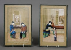 A pair of 19th century Chinese rice paper paintings Each decorated with figures in an interior