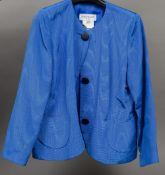 A Yves Saint Laurent Jacket In variation blue silk grosgrain, USA size 14.