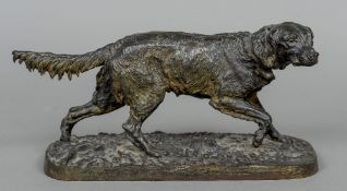A Victorian cast iron animalier sculpture Naturalistically modelled as a dog. 29 cm wide.