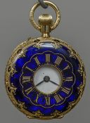 A 18 ct gold enamel decoration half hunter fob watch The reverse set with diamonds. 3.