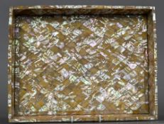 A late 19th century mother-of-pearl mounted tray Of galleried rectangular form. 34 cm wide.