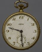 A Vulcain 18 ct gold cased pocket watch The signed ivory dial with Arabic numerals and subsidiary