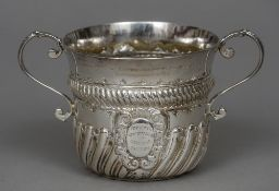 A Victorian silver twin handled porringer, hallmarked London 1894,