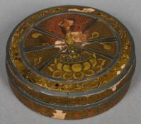 A 19th century Japanese lacquered box Of flattened circular form. 10.5 cm diameter.
