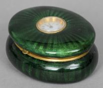 A Continental enamel watch set box Of oval form,