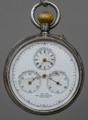 A 935 silver cased split second chronograph pocket watch The multi-dialled face inscribed S.