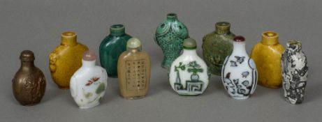 A collection of eleven various Chinese snuff bottles The largest 7.25 cm high.